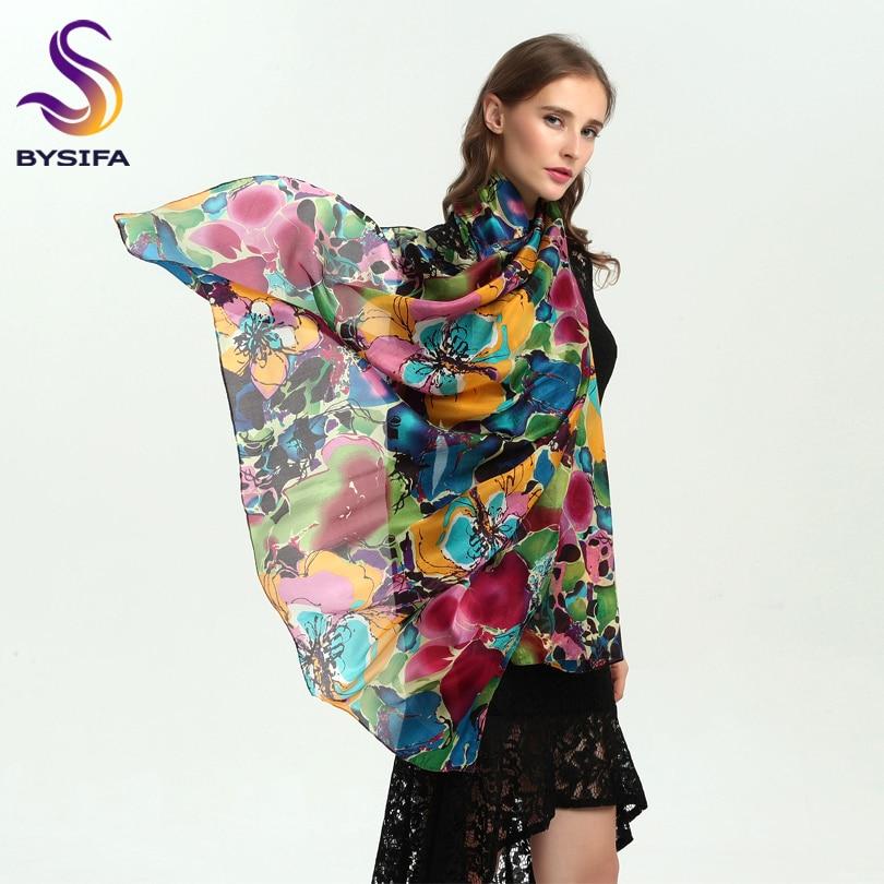 [BYSIFA] Brand Blue Green Silk Scarf Shawl Female Accessories