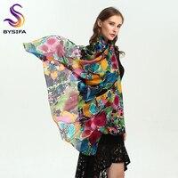 [BYSIFA] marca Verde Azul Lenço De Seda Xale Feminino Acessórios Primavera Outono Padrão Floral 100% Silk Mulheres Long Cachecóis Wraps