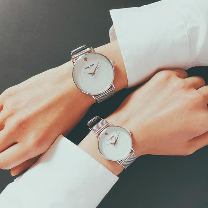 Hot Sale Ulzzang Full Stainless Steel Black Silver Quartz Dress Wristwatches Wrist Watch for Men Women Couple new stylish cool simple finger print dial stainless steel quartz wrist watch wristwatches for men women silver