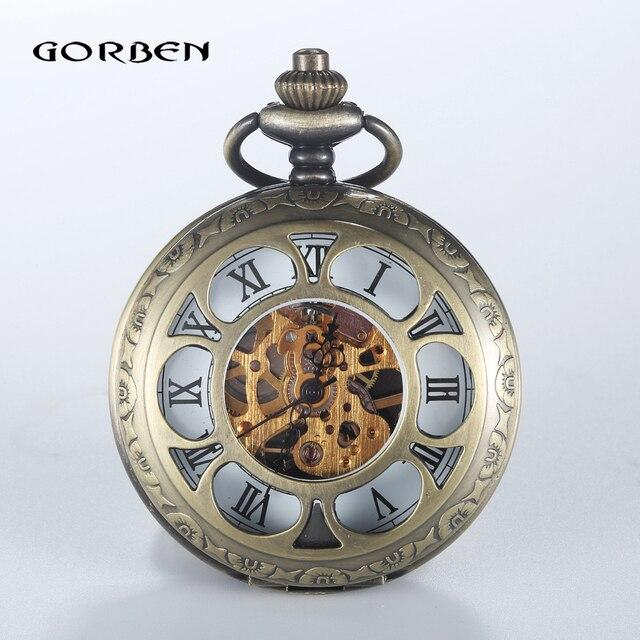 2016 Vintage Hollow Analog Steampunk Mechanical Pocket Watch Roman Num Waist Chain 2 Sides Mechanical Watch Men's