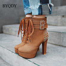 BYQDY Sexy High Heels Thick Boots Women Lace Up Round Toe PU Rivet Boot Female Studded Platform Shoes Winter Plus Size 34-48 цены онлайн
