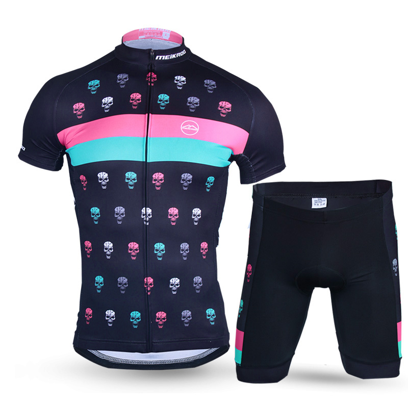 Breathable Devil Skull Pattern Cycling Sets for Men Quick-Dry Short Sleeve Bike/Bicycle Ropa Ciclismo Jersey Suits Cycling Wear paladinsport men s skull patterned short sleeved dacron cycling jersey white red xl page 7