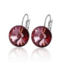 Women Swarovski Crystal Round Stone Silver 925 Drop Earring (2 colors)