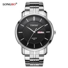 2016 Marca de Fábrica Famosa LONGBO Reloj de Los Hombres de Acero Lleno de Lujo Negro Dial grande de Cuarzo Resistente Al Agua Reloj montre homme marca de lujo 8802