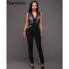 2017 New Spring Summer Mesh Floral Lace Sexy Jumpsuit Sleeveless Elegant Jumpsuit For Women Bodysuit Clubwear Rompers