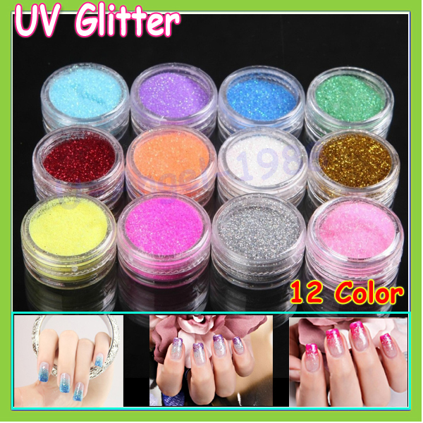 12 Color Mix Uv Gel Glitter Dust Powder Nail Art Tip Decoration Diy Make Up Beauty Whole Freeship In Stickers Decals From
