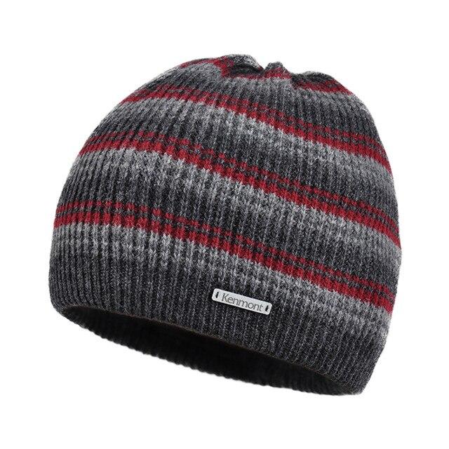 Новый Kenmont Зима Шапочка Hat для Мужчин Шерсти Трикотажные Открытый Лыж Skullies Cap Тепло-отражающей Теплые Подарки Праздник Рождества Христова 1739