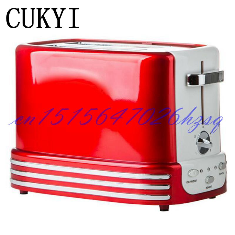 CUKYI Household 750W Toaster oven Full-automatic Electric 2 slices baking breakfast machine Bread Baking toasting machine cukyi toaster italian technology breakfast machine household automatic single double sides baking stainless steel liner retro