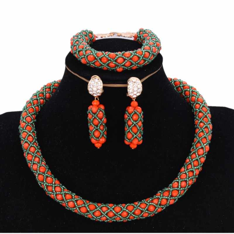 Jewelry Sets Orange and Green African Bridal Beads Sets one Layer Costume Jewellery Sets For Women Free Shipping 2018 Necklace