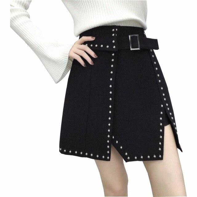 1d0c7b515d 2018 moda Vintage estilo punky remache negro femenina Shorts mini falda coreano  XXXL Mujer Faldas
