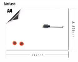 1 шт. 21*28 см A4 мягкий холодильник гибкий ПЭТ светильник Доска сообщения магнитные записки холодильник водонепроницаемый 1 маркер и 2 кнопки