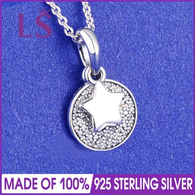 73c8537c6e94 LS 100% 925 Silver Collar en plata de ley Estrella Clara Necklace   Pendant  Christmas Gift Sets Women Original Fine Jewelry N