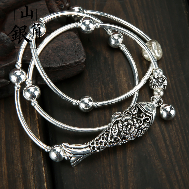 S925 sterling silver more than a year silver beads multi-turn curved tube bracelet more than a conqueror
