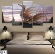 Hot Sales Without Frame 5 Panels Picture Dazzling White Ancient Dragon Poster Artwork Wall Art Canvas Painting Wholesale