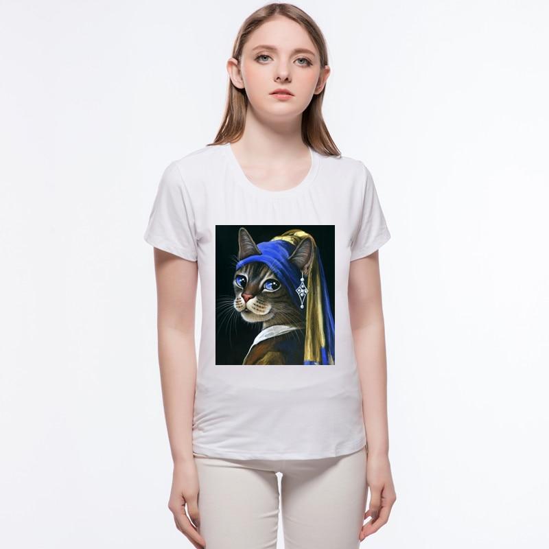 Новое поступление футболка Для женщин queen Lady Cat Футболка Забавный Рубашка с короткими рукавами новинка футболка Топ Для женщин Hipster футболки...