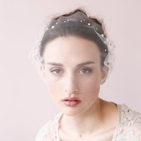 In Stock Elegant Short White Wedding Bridal Hats with Peals Free Shipping Wedding Accessories
