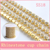 2015Hot ! 10 Yards 1 Row Ss18 Rhinestones Chain,Clear Crystal Gold Metal base, Wedding Dress Decoration,Mobile Phone DIY