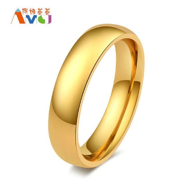 Amgjek 5mm Einfache Arc Ring Gold Farbe Titan Stahl Hochzeit Ringe