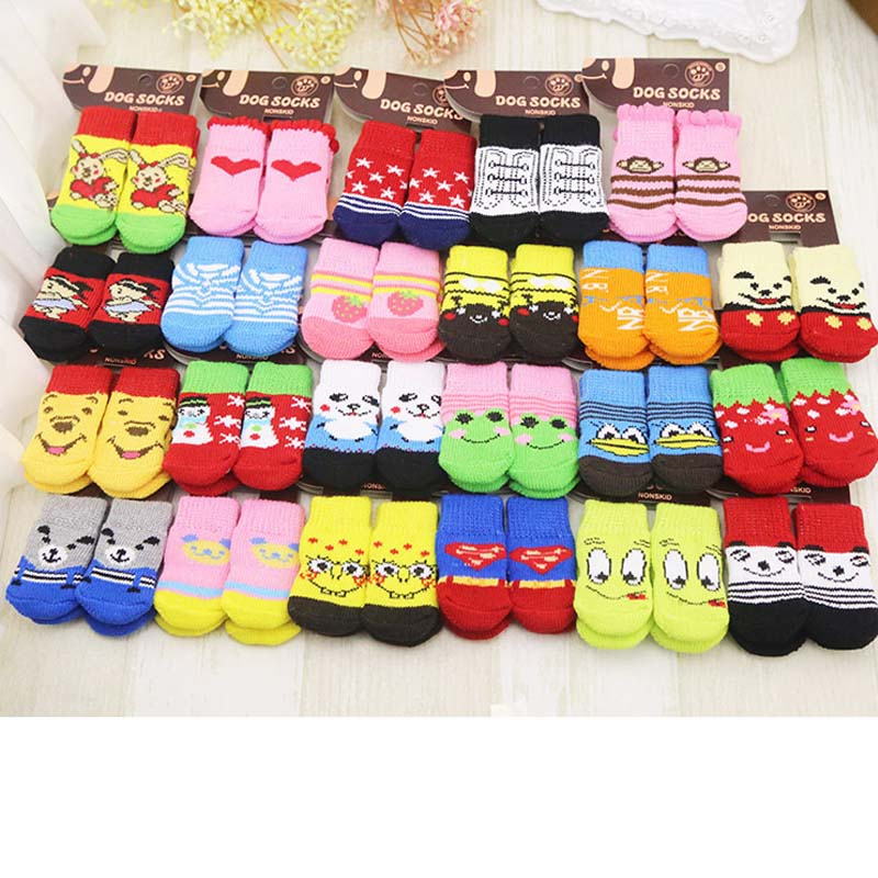 Top Grand Arrival Fashion 4Pcs Cute Puppy Dogs Pet Knits Socks Skid Bottom Mini Dog Socks Warm Sock