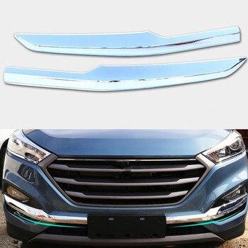 Krom Gümüş ABS Araba Ön Tampon Aşağı Sol/Sağ Sis Lambası Göz Kapağı Şeritler ayar kapağı Etiket Hyundai Tucson Için 15 16 Styling