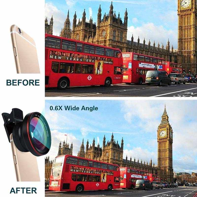Professional HD Camera Lens Kit 0.6X Angle Phone Camera Lens 2 In 1 suit for Smartphones JR-HOT
