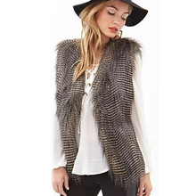 Новинка, Модный повседневный осенне-зимний женский жилет, пальто без рукавов, верхняя одежда, куртка с длинными волосами, жилет, женские пальто