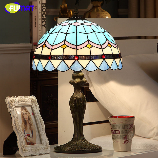 FUMAT Baroque Style Table Lamp Blue Shade Stained Glass Table Lamps For Living  Room Bed Room Art Fashion LED Glass Table Lamps