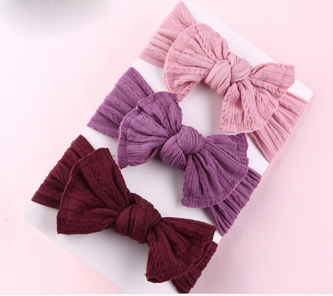 20PC/lot Newborn Kids Wide Nylon Headbands,Knotted Hair Bow Turban Headband,Children Girls Headwear Hair Accessories