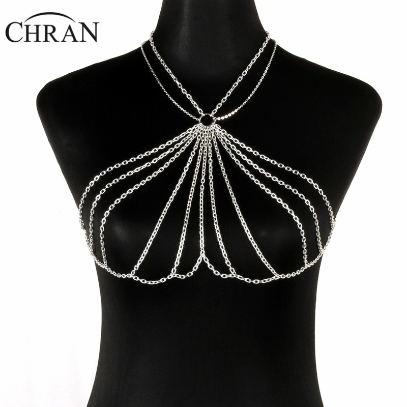 Chran Для женщин цепи бюстгальтер без косточек Топ Платье Декор кольчуге EDC наряд жгут колье фестиваль одежда Ibiza Sonar Jewelry CRBJ120
