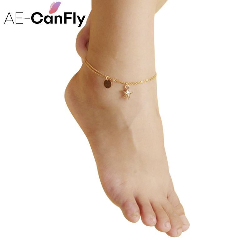 AE-CANFLY Starfish Anklet Bracelet Sexy Gold Paillete Ankle Chain Beach Wear Women Foot  ...