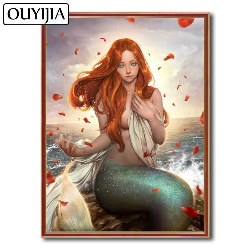 OUYIJIA Mermaid Beauty 5D DIY Siren Sexy Animal Cartoon Diamond Painting  Decoration Gift Mosaic Rhinestone Picture 3e86e10f75a7