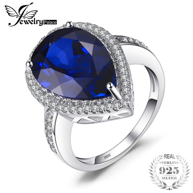 JewelryPalace Charm 7ct Water Drop Cut Created Sapphire Ring For Women Party Pur