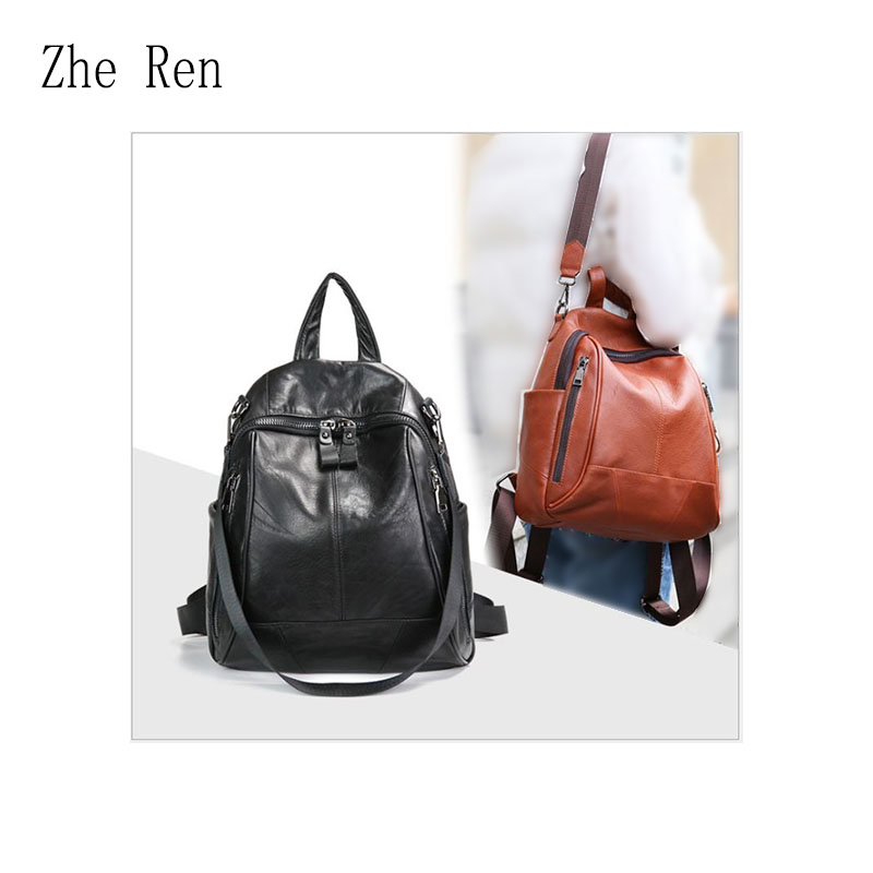 The new 2018 top layer drop pattern cowhide stitching double shoulder backpack college style travel soft leather bag for women