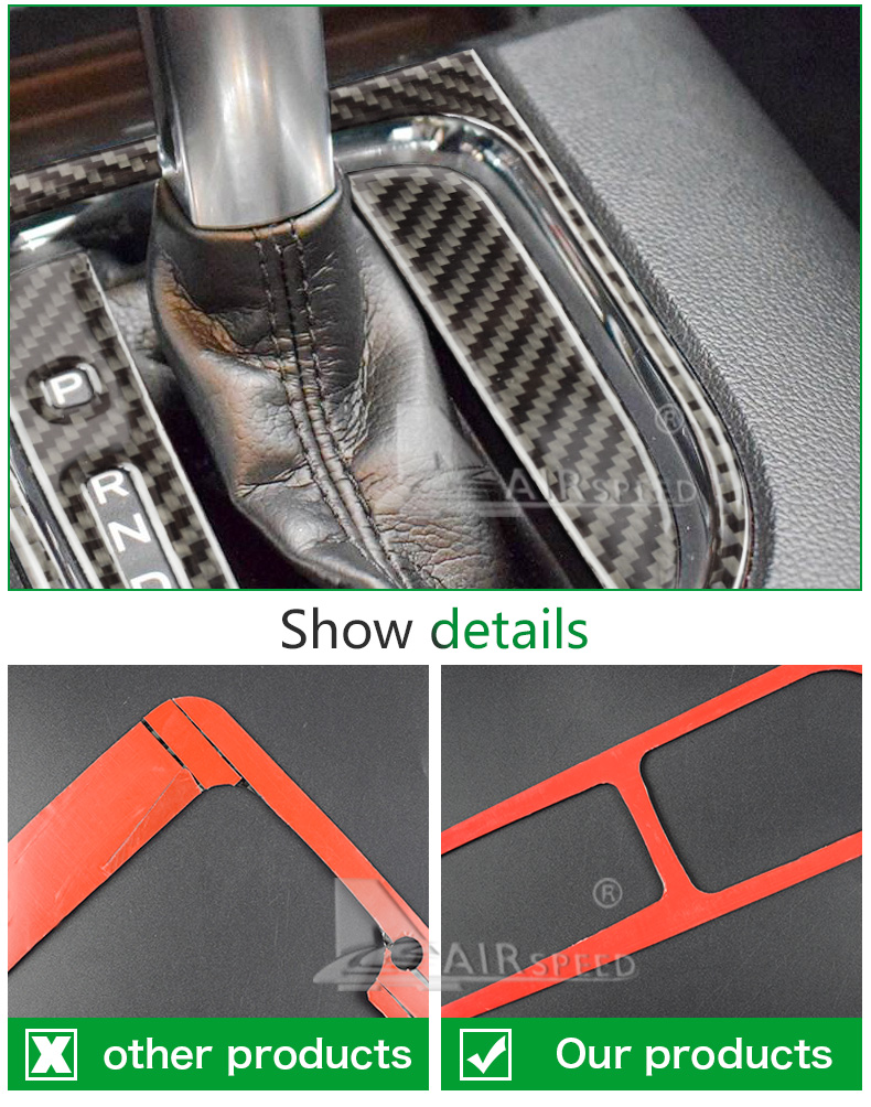 Airspeed Carbon Fiber Car Gearshift Panel Frame Cover Stickers For Ford Mustang 2015-2017 Car Accessories Car Stickers Styling