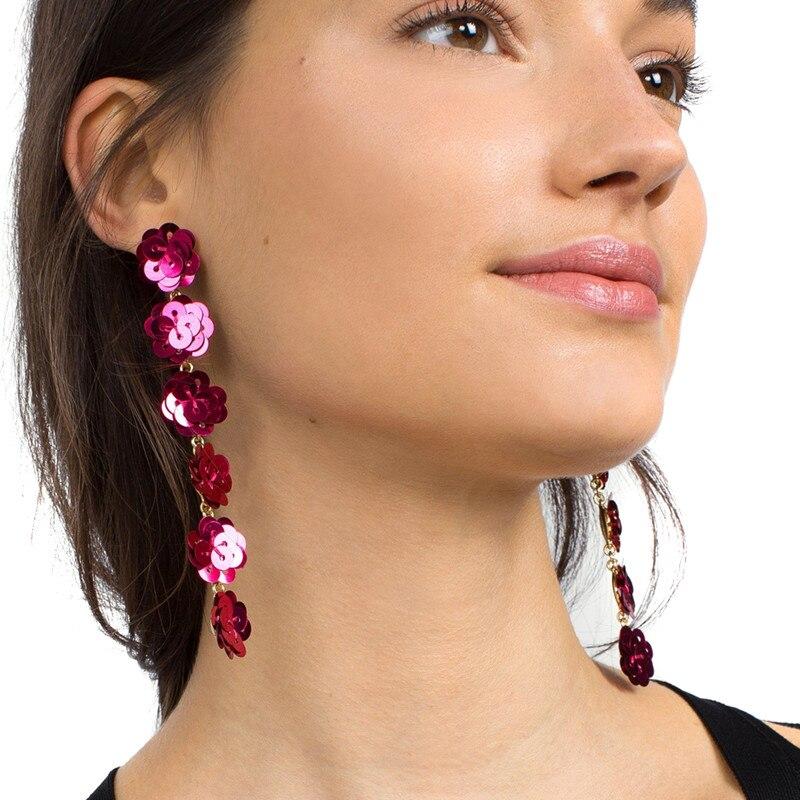 Missxiang 2018 New Design Trend Fashion Women Bohemia Statement Sequins Tassel Earrings for Women Jewelry Flower Long Earrings