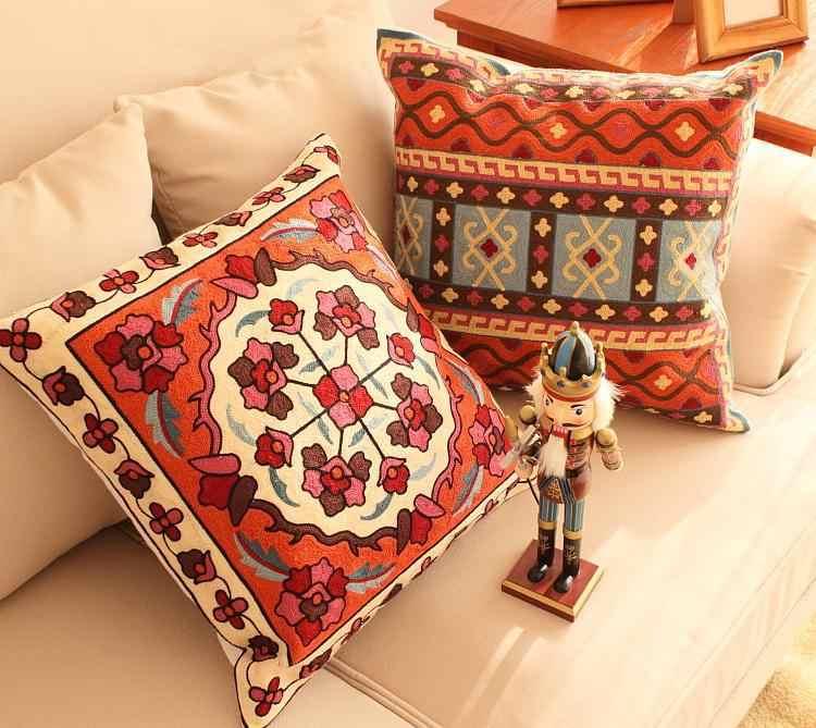 Геометрический Вышитый Чехол для подушки, декоративные подушки для дома, чехол для подушки с вышивкой, вышитые подушки для дивана