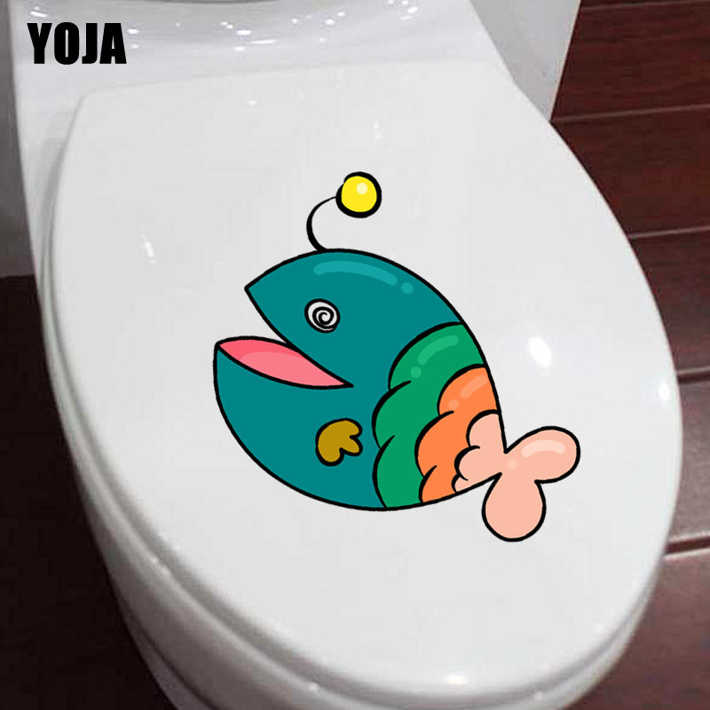 YOJA 22.2*18.3CM Happy Fish BedRoom Home Decor Toilet Sticker Wall Decal Art Creative T3-0994 image