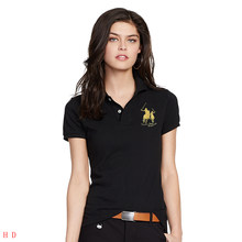 2019 Summer women Short-sleeved 100% cotton big horse embroidery logo slim polo shirts summer casual tops tees ladies polo(China)
