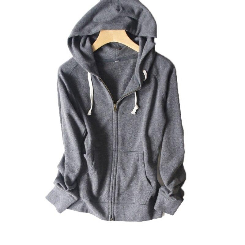 Timmiury Frauen Top Qualität Baumwolle Zip-up Grau/Schwarz/Rosa Hoodies S-XXL