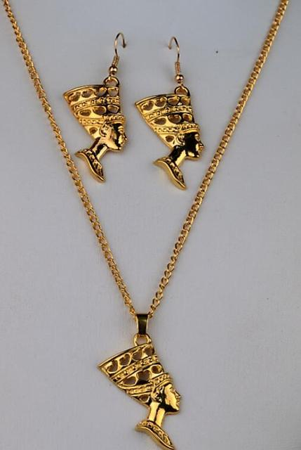 Women Jewelry Set Gold Egyptian Egypt Queen Nefertiti Charms Dangle