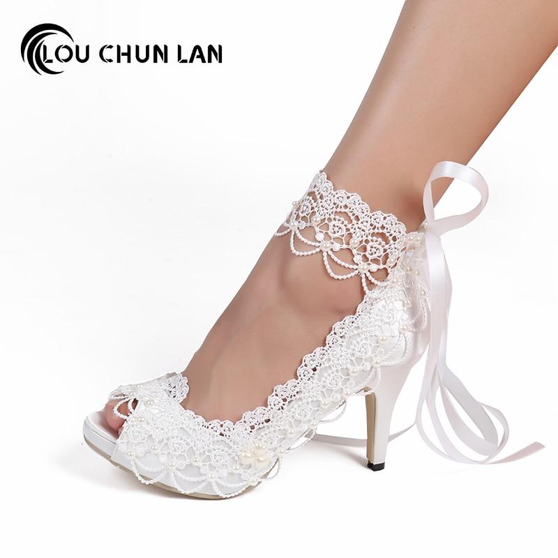 LOUCHUNLAN Summer Woman Shoes Pumps White Lace Ankle Strap