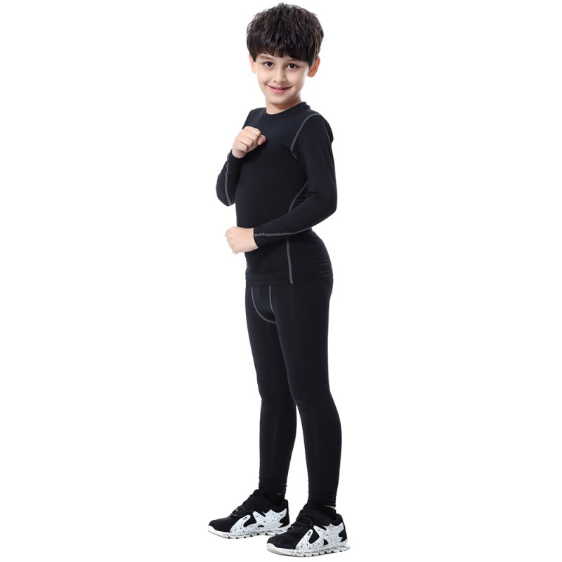 Chilldren Quickly Dry Sport Pants Elastic Waist Skinny Sports Shorts Polyester Running Sports Cycling Long Black Pants