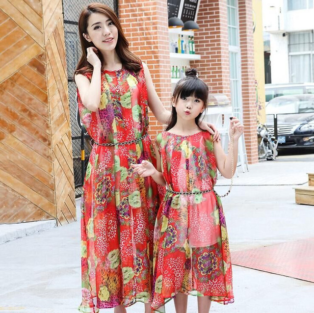 2016 family look mother daughter dresses matching mother daughter clothes family matching clothes casual printed bohemian dress
