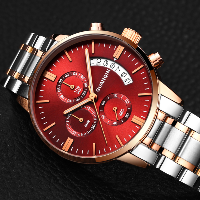 Mens Watches GUANQIN Top Brand Luxury Chronograph Luminous Clock Men Business Stainless Steel Quartz Watch relogio masculino watches men luxury brand chronograph quartz watch stainless steel mens wristwatches relogio masculino clock male hodinky