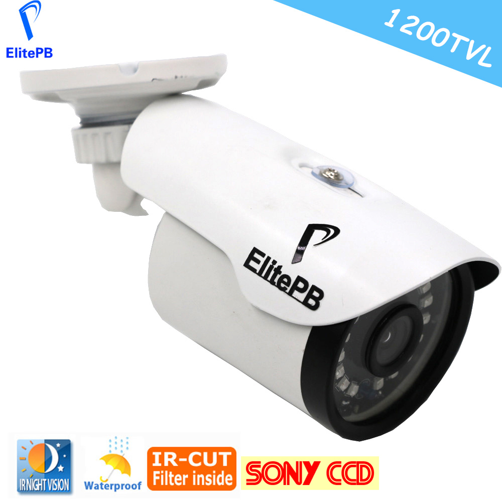 ElitePB IR Bullet Weatherproof CCTV Camera HD 720P 1200TVL Survillance Camera Outdoor 20 ARRAY LED With IR Cut Filter bullet camera tube camera headset holder with varied size in diameter