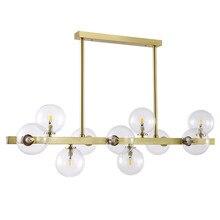 Post modern Foyer Light luxury Chandeliers Real brass Gold body 7/10/12 heads glass droplight LED G9 bulb Lighting fixture