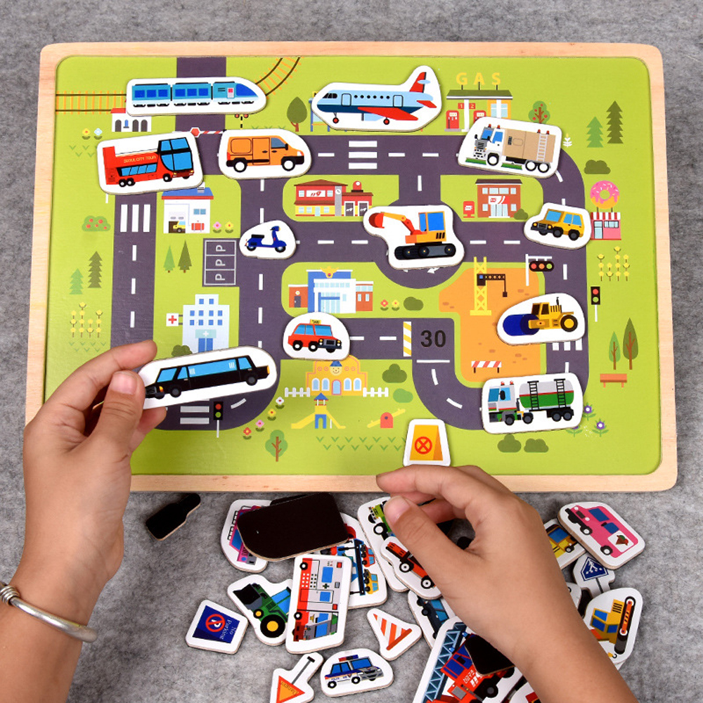 Baby Wooden Scene Toys Car Farm Magnetic Three-dimensional Puzzle Wooden Magnetic Puzzle Traffic Animal Toys for Children Gift