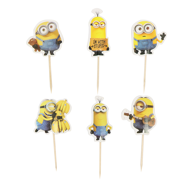 24PCS/set Cartoon Minions Cupcake Toppers Pick Funny Kids Birthday Party Decoration Event Party Wedding Cake Topper Supplies