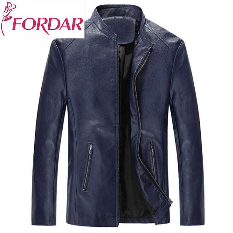 FORDAR de Masculino Fashion Male Leather Jacket Men Slim Masculino Motorcycle Mens Leather Jacket Coats
