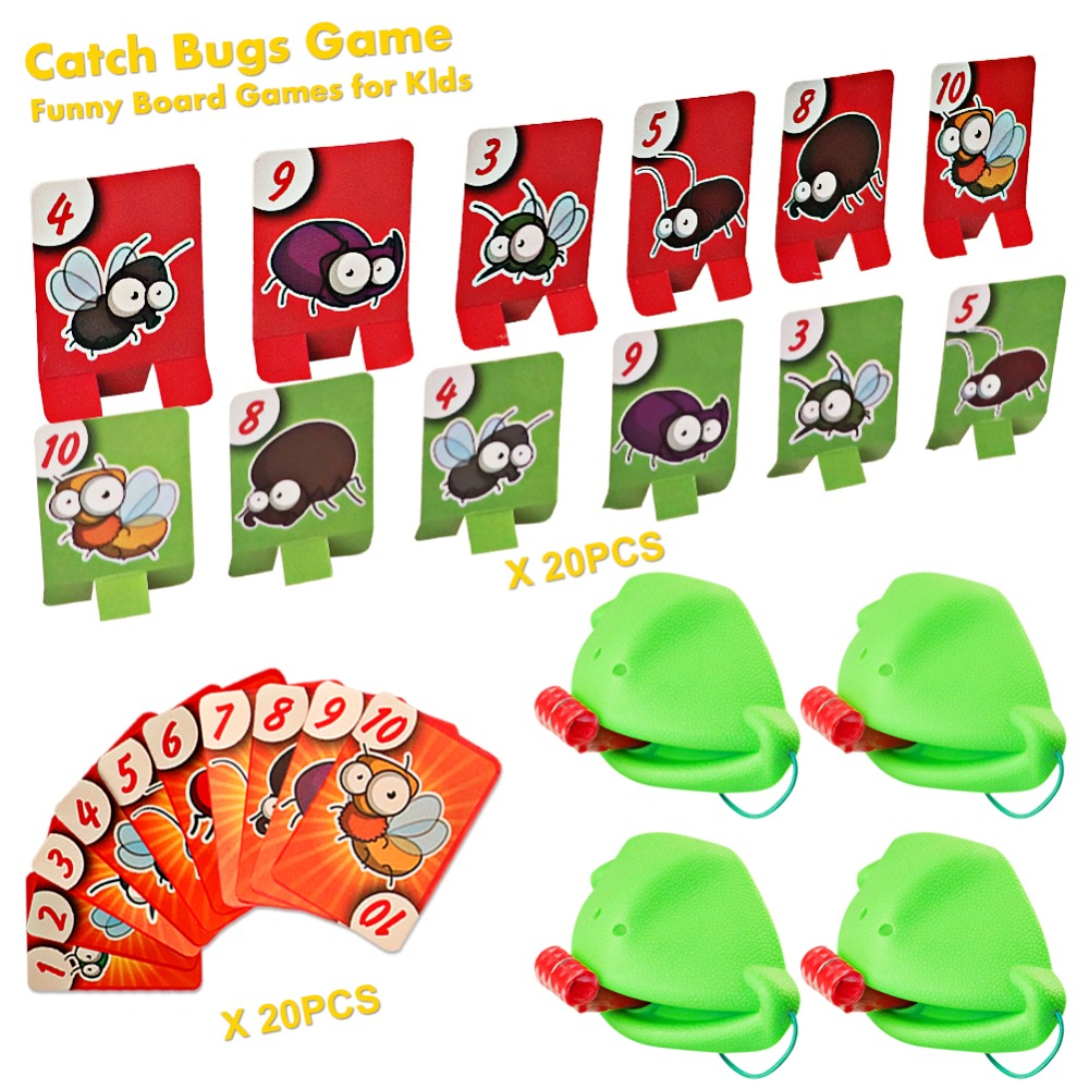 Frog Mouth Take Card Tongue Tic-Tac Chameleon Tongue Funny Board Game For Family Party Toy,Be Quick To Lick Cards Toy Set